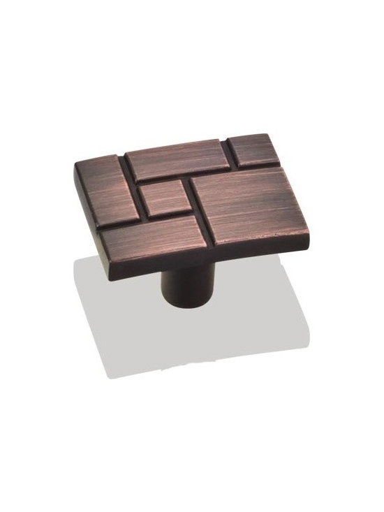Jeffrey Alexander 874DBAC Cabinet Knob - Breighton Series - Brushed Oil Rubbed B - This brushed oil rubbed bronze finish cabinet knob with etched geometric design is a part of the Breighton Series from Jeffrey Alexander. A perfect blend of craftmanship in traditional and contemporary design to complement any decor.