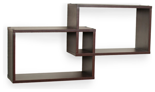 Intersecting Walnut Rectangular Shelves (Set of 2) - Contemporary - Display And Wall Shelves ...