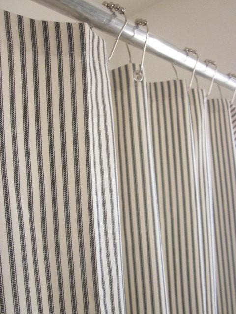 Nautical Ticking Stripe Grommeted Shower Curtain by Modern Folk Shop traditional-shower-curtains