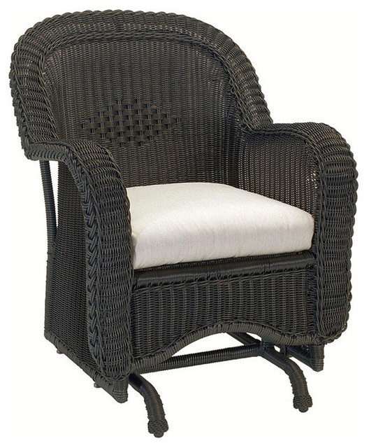 Classic Wicker Single Outdoor Glider with Cushions