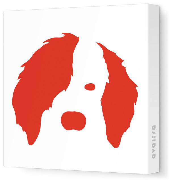 "Animal Face - Dog Stretched Wall Art, 28"" x 28"", Red contemporary-kids-wall-decor"