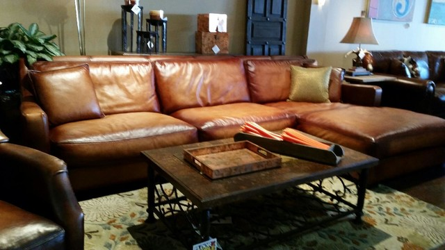 Large rustic leather sectional sofas for Large rustic sectional sofa