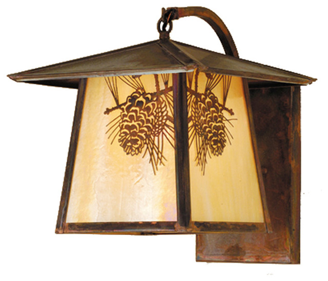 """Meyda Lighting 54878 12""""W Stillwater Winter Pine Curved Arm Wall Sconce traditional-outdoor-lighting"""