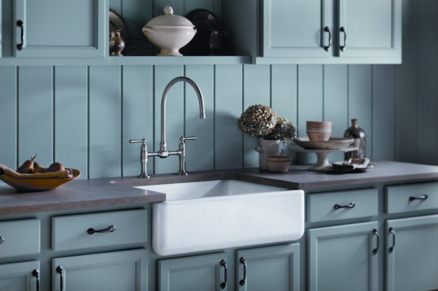 Soft Blue Country Kitchen