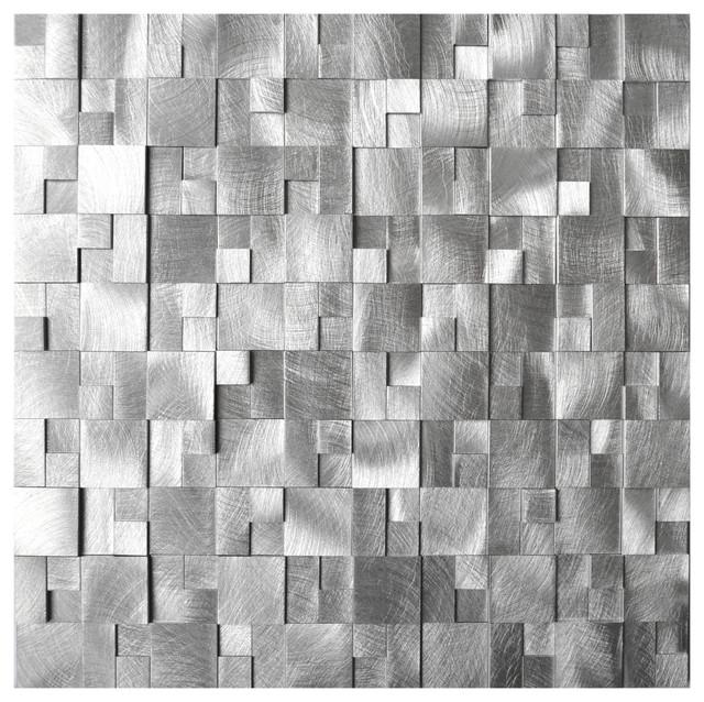 3d Raised Cobblestone Pattern Aluminum Mosaic Tile Sheet
