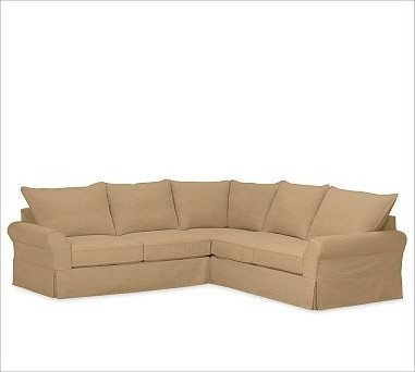 PB Comfort 3-Piece L-Shaped Sectional, Knife-Edge Cushions, Down-Blend Wrap Cush traditional-decorative-pillows