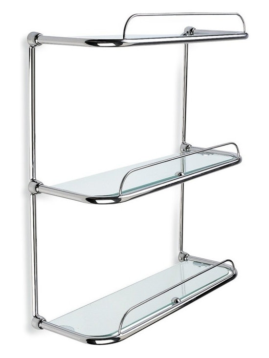 """3 Tier Bathroom Shelving Unit - 16"""" bathroom shelving unit with three tiers and rails. Made from clear glass and brass with a chrome finish. Designed by StilHaus in Italy. Width: 16.1"""" Height: 18.1"""" Depth: 6.7"""""""