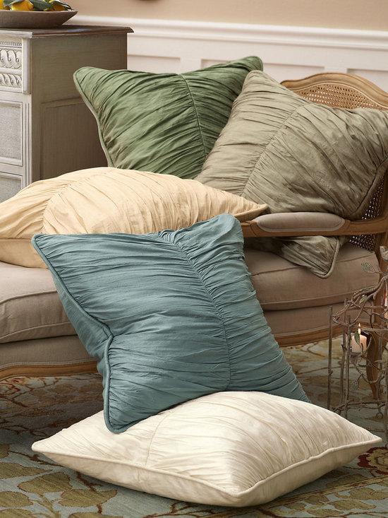 Silk Provencal Euro Sham - Make a subtly substantial statement with softly textured dupioni silk, lightly crinkled for a playfully casual effect that mixes with any décor, from urban chic to country cozy. Shirred detail on the Euro Sham adds a touch of drama.