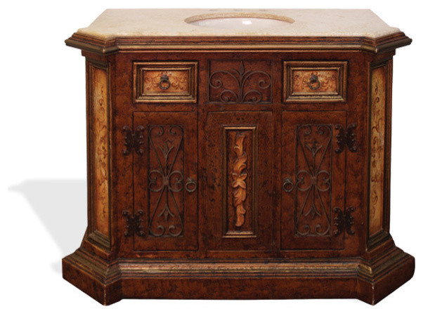 Tuscan vanity top virrey fresco brown distressed with for Tuscan bathroom vanity cabinets