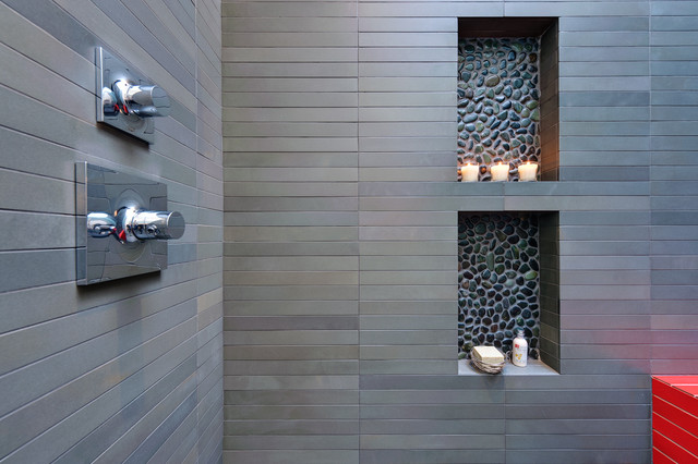 Contrasting tile niches and a touch of color modern - Modern wall niche designs ...