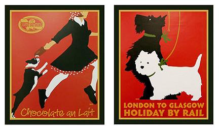 Vintage Dog Prints traditional-artwork