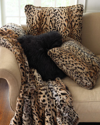 Adrienne Landau Leopard-Print Fur Pillow, 26Sq. traditional pillows