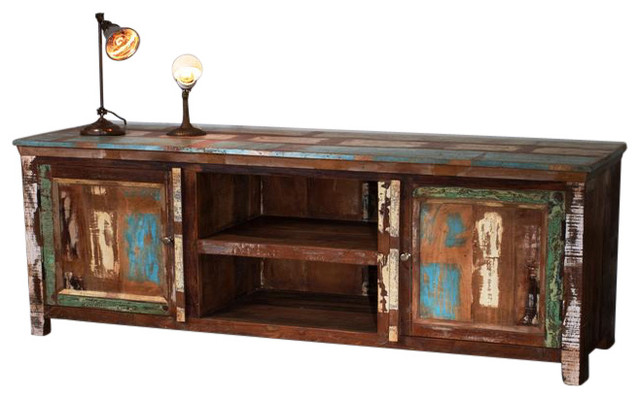 Weathered Reclaimed Wood Low Entertainment Center - Farmhouse - Media Storage - by C.G. Sparks