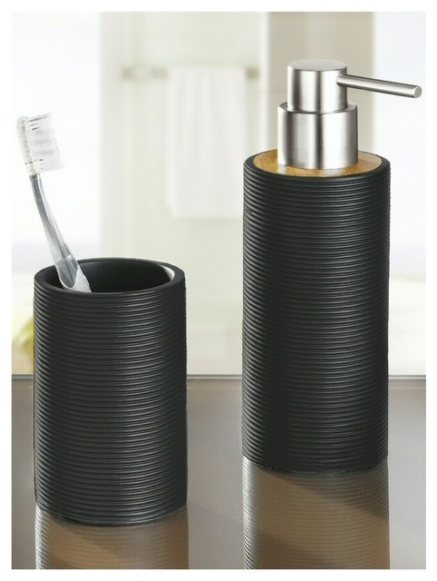 Bamboo Bath And Spa Accessory Set Matte Black 10oz Modern Bathroom Accessory Sets