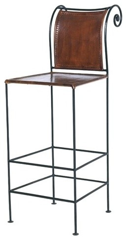 26 Quot Pub Leather And Iron Counter Stool Modern Bar
