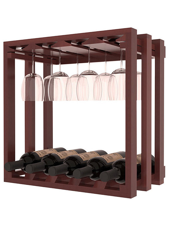 Wine Storage Lattice Stemware Cube in Redwood with Cherry Stain + Satin Finish - Designed to stack one on top of the other for space-saving wine storage our stacking cubes are ideal for an expanding collection. Use as a stand alone rack in your kitchen or living space or pair with the 20 Bottle X-Cube Wine Rack and/or the 16-Bottle Cubicle Rack for flexible storage.