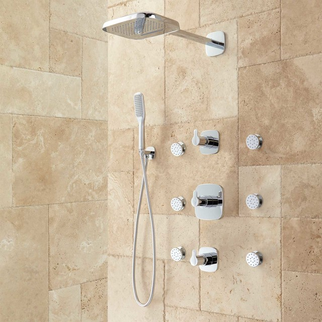 arin thermostatic shower system with hand shower 6 jets ForBody Spray Shower Systems
