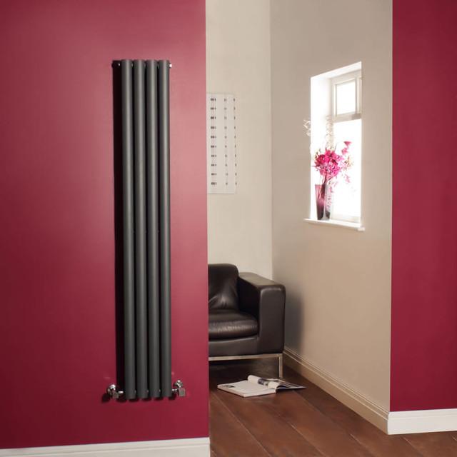 Revive Anthracite Vertical Designer Radiator Heater 63 x 9.3 & Valves contemporary-fire-pits