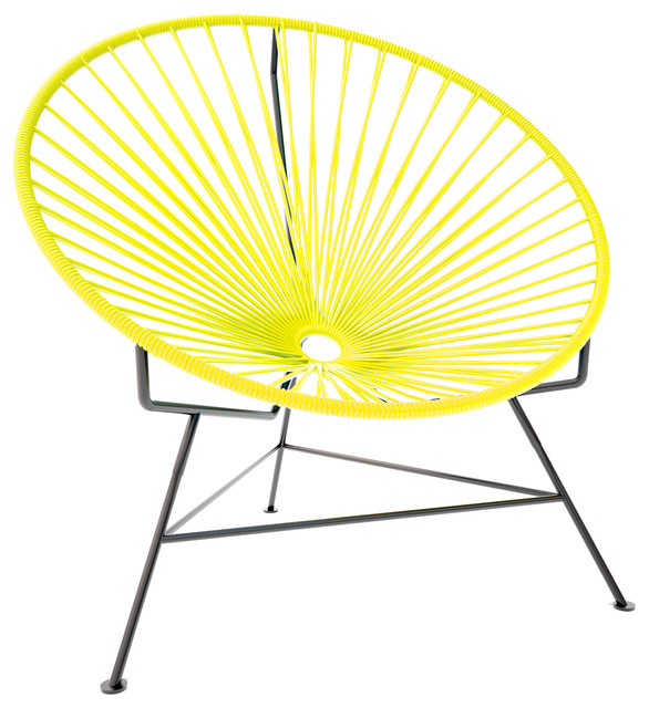 Innit Chair, Yellow Weave On Black Frame modern-living-room-chairs