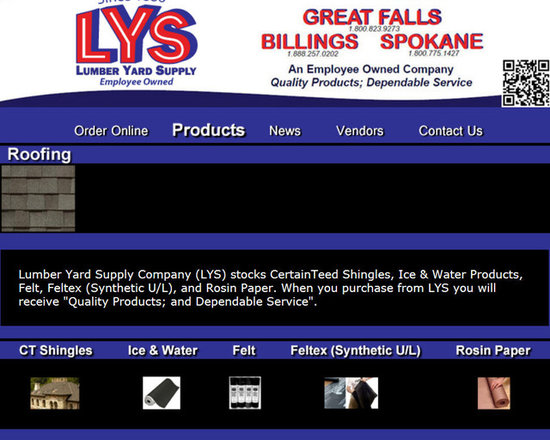 """Lumber Yard Supply Co. Stocked Products - Lumber Yard Supply Company (LYS) stocks CertainTeed Shingles, Ice & Water Products, Felt, Feltex (Synthetic U/L), and Rosin Paper. When you purchase from LYS you will receive """"Quality Products; and Dependable Service""""."""