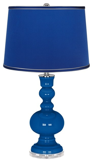 hyper blue satin dark blue shade apothecary table lamp. Black Bedroom Furniture Sets. Home Design Ideas