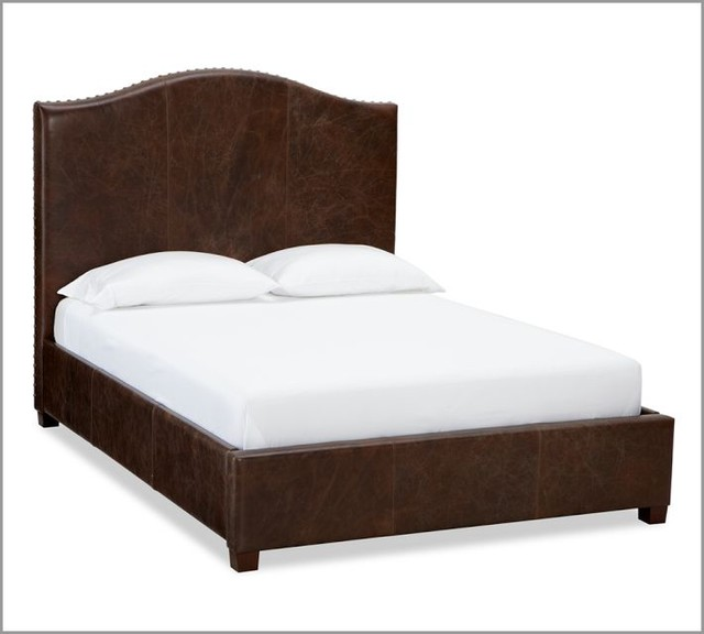 Raleigh Leather Camelback Bed With Nailhead Contemporary