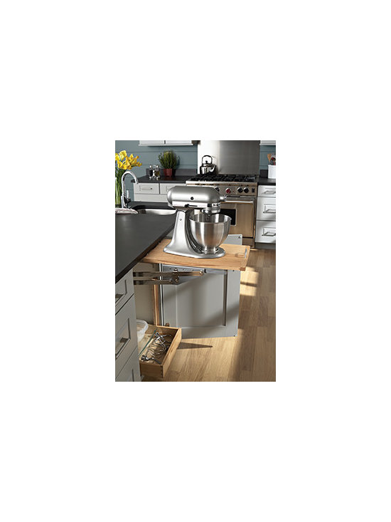 Mixer Shelf Cabinet - Hide mixer away until needed and regain valuable counter space. Includes lift mechanism attached to a maple platform.
