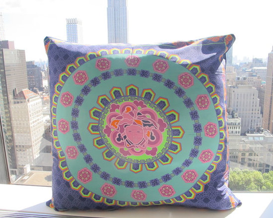Versace Medusa Floor Pillow - This statement floor pillow was crafted from an authentic Versace silk scarf.  Measures 32x32, looks beautiful in any room. Included feather poly insert.