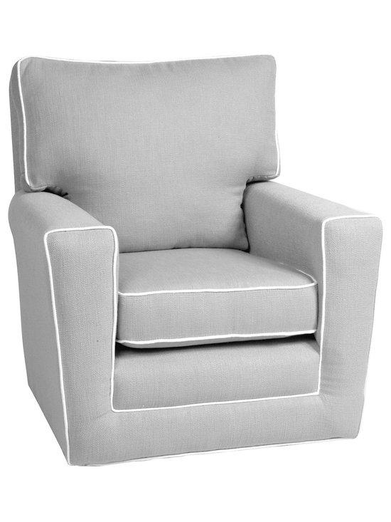 Rock Star Baby Girl's Nursery - Modern gray nursery rocker glider chair.