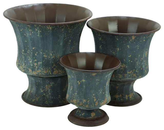 Metal Planter with Contemporary Metallic Bronze Finish - Set of 3 traditional-indoor-pots-and-planters