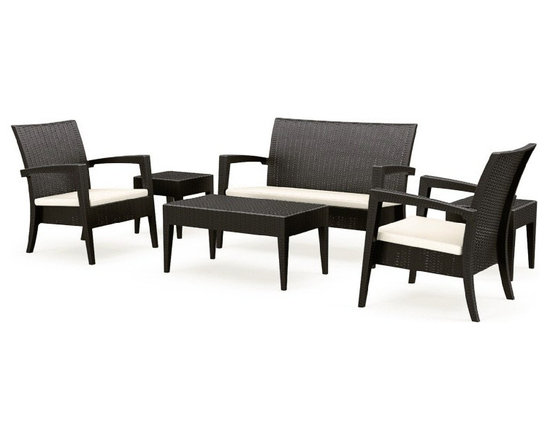 Siesta - Miami Resin Wickerlook Conversation Set 6-Piece Brown - -Made from commercial grade resin.
