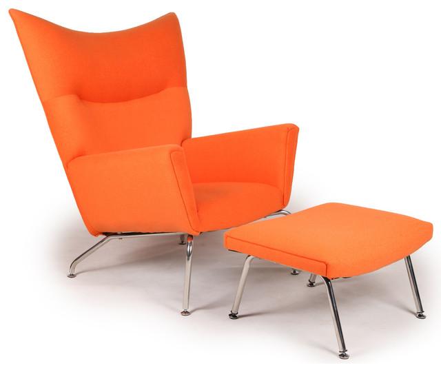 Kardiel Modern Wing Chair Amp Ottoman Orange Boucle Danish
