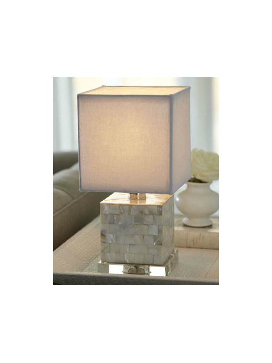 Mother-of-Pearl Mini Cube Lamp - Chic mini lamp has a cube base covered in mother-of-pearl on a clear crystal base.