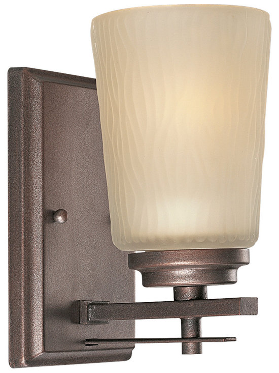Progress Lighting P3092 Riverside Single-Light Bathroom Sconce with Etched Light - The Riverside Sconce from Progress Lighting brings modern simplicity to your walls while adding a rustic touch. Stylishly simply it adds just the right touch of bold lines to the etched light topaz glass shade, while beautifully complementing the lustrous, deep-tones heirloom finish.