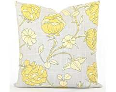 Lotus Blossom Gray Both Sides Decorator Pillow Cover By Studio Pillow contemporary-pillows