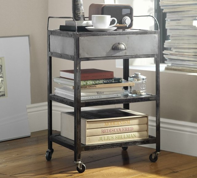 Metal Rolling Cart Bedside Table Eclectic Side Tables