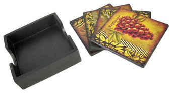 Set of 4 Grape Motif Ceramic Coasters with Holder Wine traditional-wine-and-bar-tools