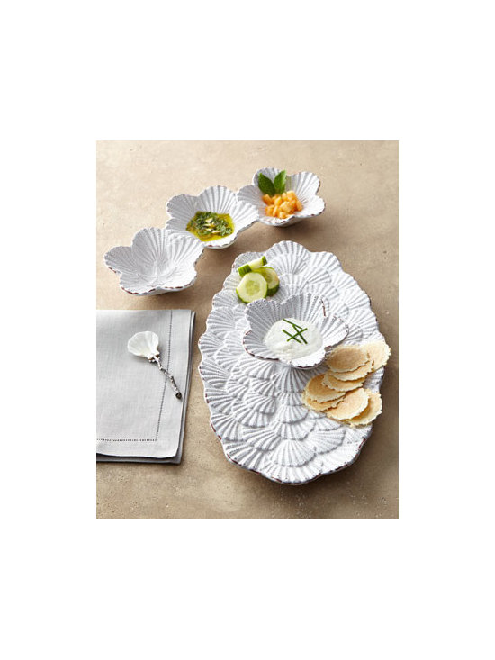 "Horchow - Triple-Dip Server with Spoon - Every party can seem like a picnic by the sea when you bring out these shell-motif serving pieces. Made of embossed terra cotta with a white ""milk"" glaze finish. Chip-and-dip server, 18""L x 11""D x 5.25""T. Triple dip server includes a serving spoon;...."
