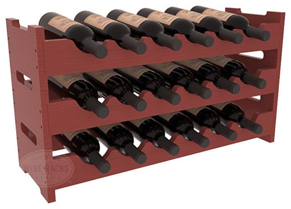 18 Bottle Mini Scalloped Wine Rack Pine, Cherry Stain + Satin Finish contemporary-wine-racks