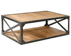 Metal and Wood Coffee Table eclectic coffee tables