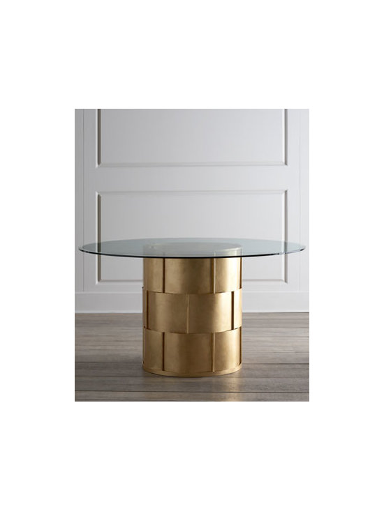 """Horchow - Lillian Dining Table - With its gold-leaf finished woven metal base and clear glass top, this chic dining table amps up the glam factor for any dining room. Handcrafted of sheet metal, iron, and beveled glass. Glass top features a 1"""" bevel and is 0.375"""" thick. 54""""Dia. x 29..."""