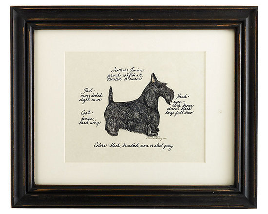 Ballard Designs - Scottish Terrier Dog Print - Hand colored & signed. Printed on parchment. Eggshell mat. Antique black frame. Our Scottish Terrier Dog Print was created by the dog-loving, husband and wife team of Vivienne and Sponge. The Scottish Terrier is known for being proud, confident and devoted. Each Terrier portrait is hand colored and embellished with notes on the breed's special characteristics. Printed on antiqued parchment, signed by the artists and framed in antique black wood with eggshell mat and glass front. Scottish Terrier Dog Print features: . . . . *Please note that personalized items are non-returnable.