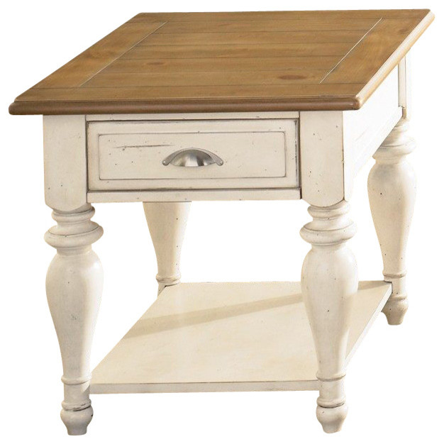 Liberty Furniture Ocean Isle 28x24 Rectangular End Table in Bisque and Pine traditional-side-tables-and-end-tables