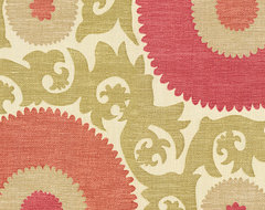Coral & Green Giant Suzani Fabric eclectic-upholstery-fabric