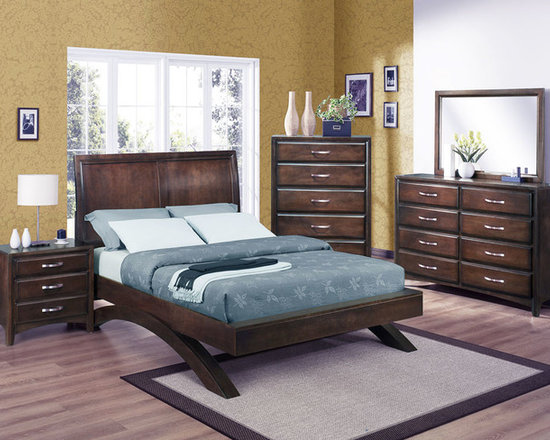 Brooklyn Bedroom Collection - The Vera collection has unique transitional style that combines modern features with classic details. It has been meticulously designed with tropical hardwoods in a dark espresso finish, giving it incredible durability and long-lasting style. Each case piece has been fitted with french and english dovetail joints and full extension glides for ease of use.  Photo: Crown Mark, Inc.
