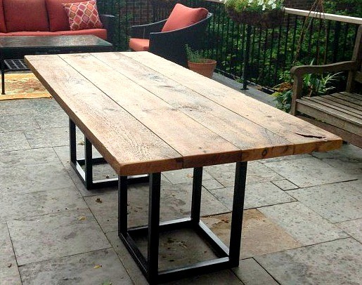 SALVAGED BARN BOARD DINING OUTDOOR DINING TABLE WITH METAL BASE