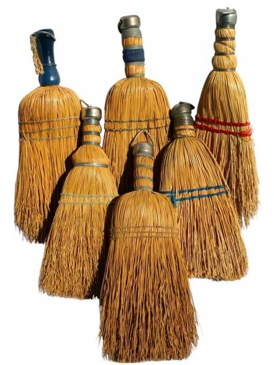 Whisk Broom Collection - Wonderful and primitive...this is a great collection of little vintage whisk brooms.  They look great hung on hooks in the laundry room or grouped together in a bucket like country flowers.