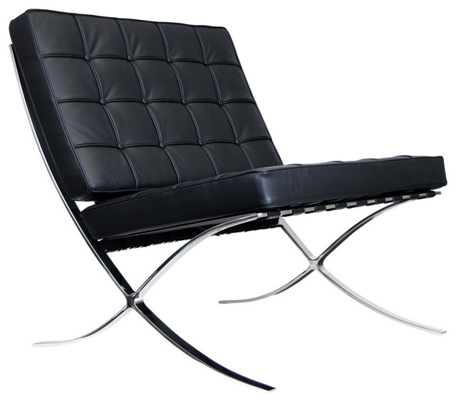 barcelona chair reproduction aniline leather black