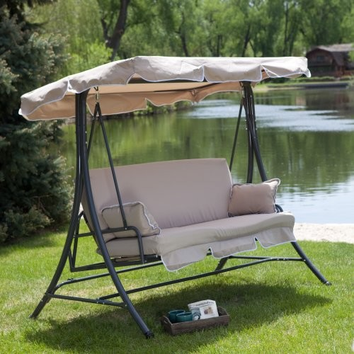 Lazy Caye 3 Person Swing Chair and Bed - Cappuccino traditional-gliders