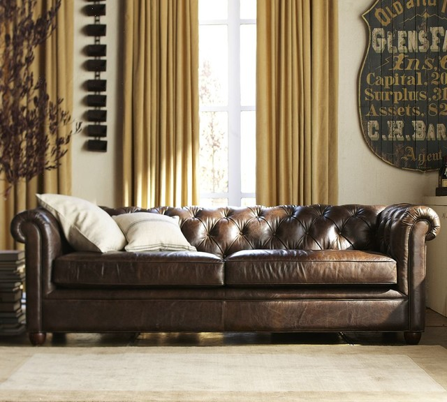 Chester Field Leather Grand Sofa Traditional Sofas